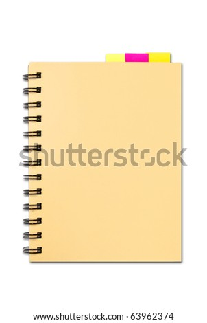 small notebook with memo pad bookmark isolated on white background