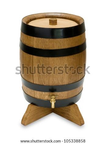 Small oak wine barrel isolated - stock photo