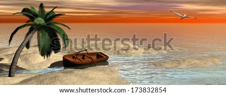 Small old wood boat next to palm tree at the beach by sunset - stock photo