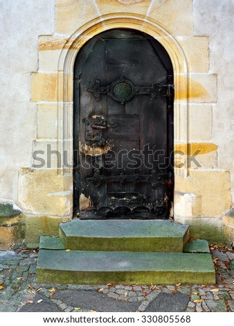 small old wooden Church Door - stock photo