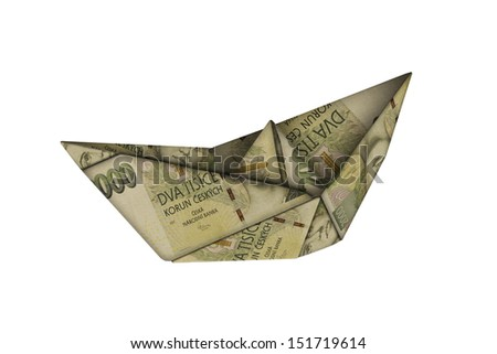 small paper boat made of Czech banknotes  - stock photo