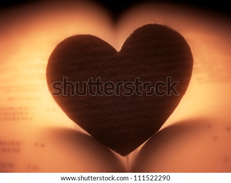 Small paper heart on a book.Romantic blur and tone. - stock photo