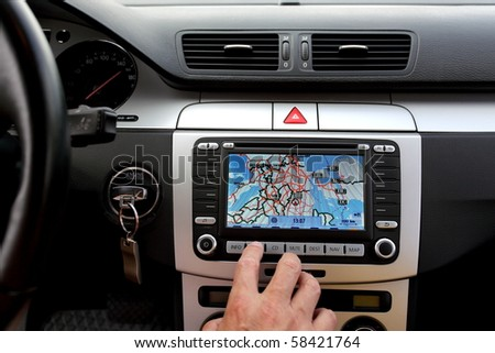 Small part of car dashboard with gps - stock photo