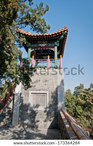 Small pavilion in Buddhist Yong'An (Temple of Everlasting Peace) in Beihai Park, Beijing, China