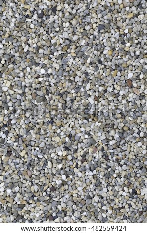 Small Pebble Stone Texture Background. Gravel Background. Decorative Ground. Gray Background
