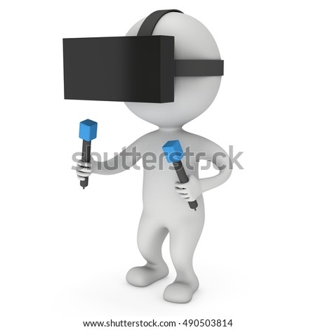 Small people with virtual reality glasses headset. 3D render illustration isolated on white