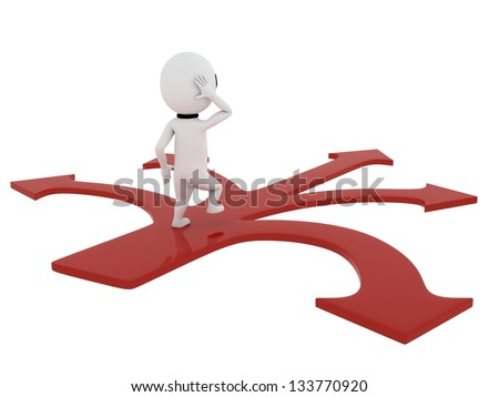 small person standing on red arrow with confusion