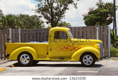 pretty tiny pickup truck. Small pickup truck with bright yellow color Pickup Truck Bright Yellow Color Stock Photo 13621030