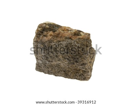 Small piece of a granite stone isolated on a white background