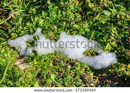 Small piece of snow on green grass - stock photo