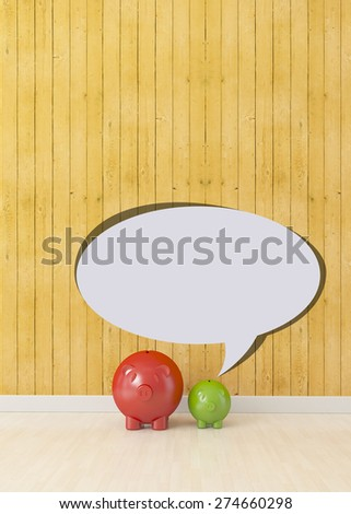 small piggy saying to big, communication concept - stock photo