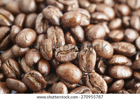 Small pile of coffee beans in white background