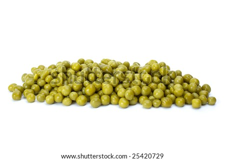 Small pile of conserved green peas isolated on the white background