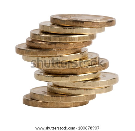 Small pile of copper coins on a white background