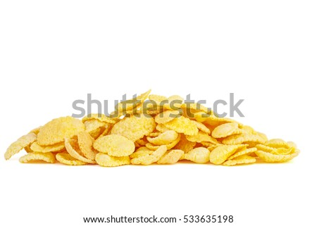 Small pile of corn flakes isolated on white background