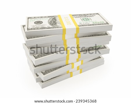 small pile of dollars - stock photo