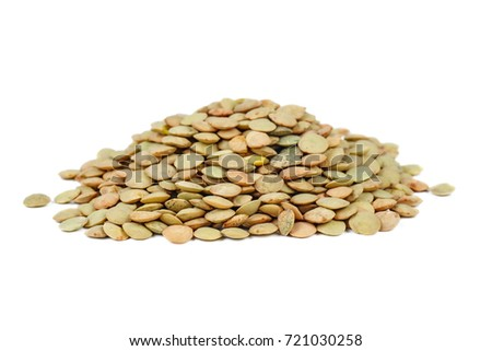 Small pile of green lentils isolated on white background