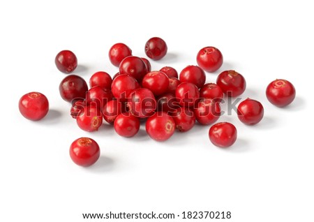 small pile of red cranberry on white background - stock photo