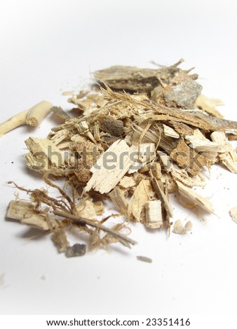 Small pile of wood chips used as mulch or fuel