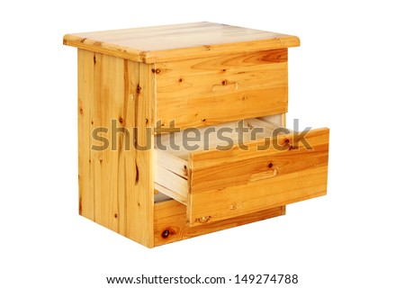 Small Pine Chest of Drawers with the bottom drawer open