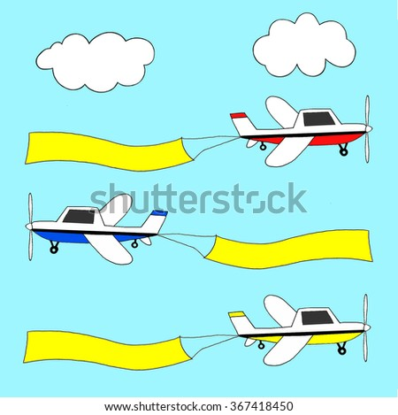 Small planes in three different colors pulling yellow advertising banners. - stock photo