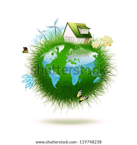 small planet made of grass with water in the form of a world map -  idyllic ecological lifestyle - stock photo