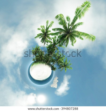 small planet, ocean, tropical island, palm trees - stock photo