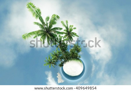 small planet ocean tropical island palm trees 3D illustration - stock photo