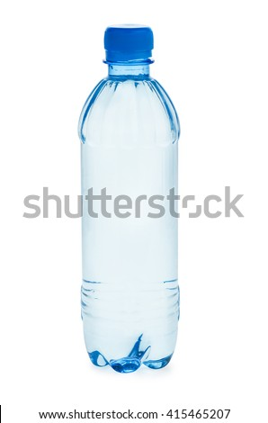 Small plastic bottle  with water isolated on white background
