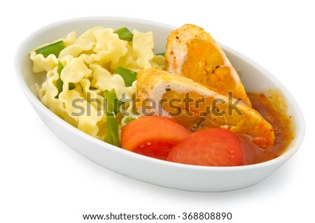 Small plate of inflight meal, meat, noodles and tomatoes on a white background