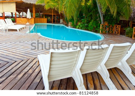 Small pool and chairs for rest