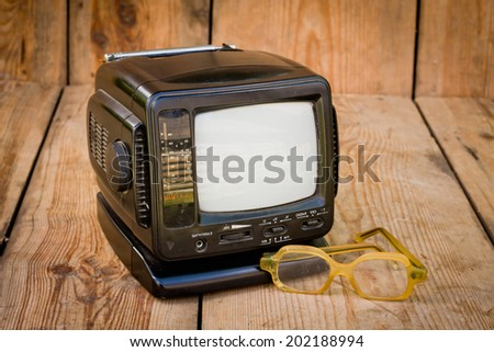 small portable television receiver - stock photo