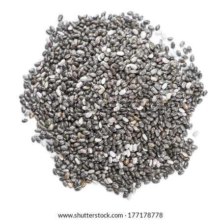 Small portion of Chia Seeds (isolated on white background) - stock photo
