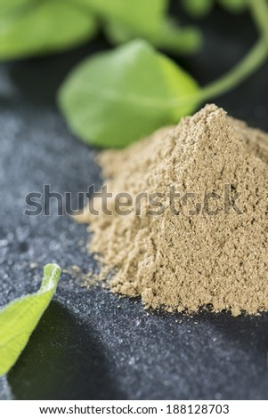 Small portion of Powdered Sage (close-up shot)