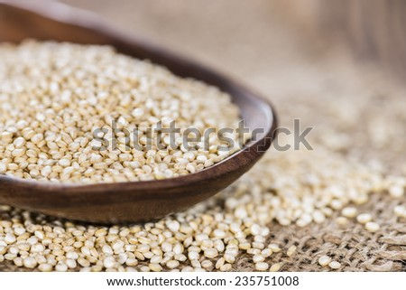 Small portion of uncooked Quinoa (close-up shot)