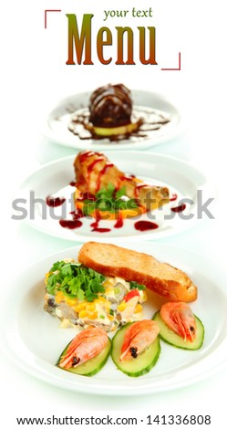Small portions of food on big white plates isolated on white - stock photo