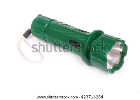Small powerful electric torch. Isolated on white, clipping path for flashlight isolation. - stock photo