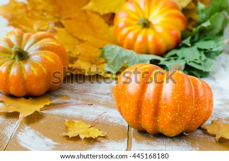 Small pumpkins with leaves on wooden background. Autumn decorations. Selective focus