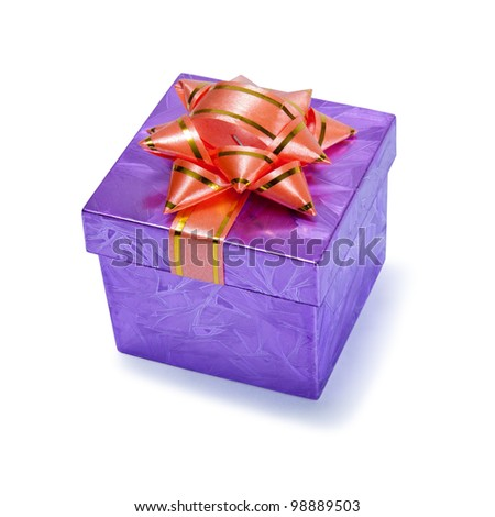 small purple gift box with a bow on top
