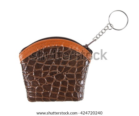 small purse whit chain ring  ,bag on white background - stock photo