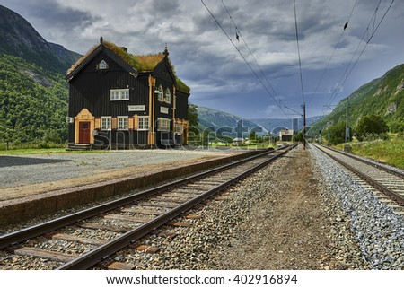 Small railway station, beautiful wooden station building, Norway, Scandinavia, Europe - stock photo