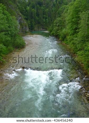 small rapids on the river Salza in Austria - stock photo
