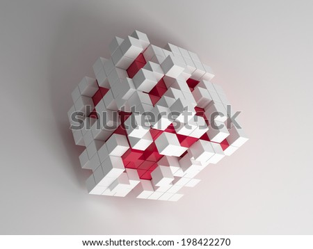 Small red and white cubes forming big block on white background - stock photo