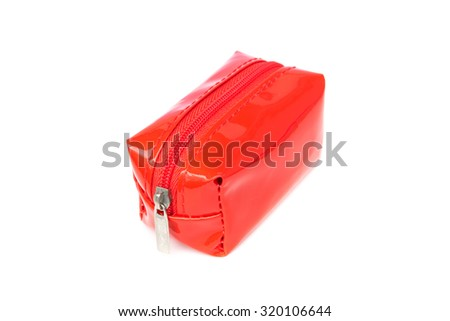 Small red bag with zipper on white background