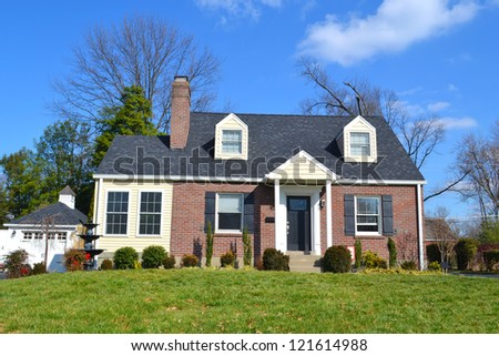 Small Red Brick American Home - stock photo