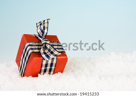 Small red christmas gift lying in the snow