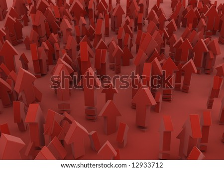 Small red 3d arrows over red