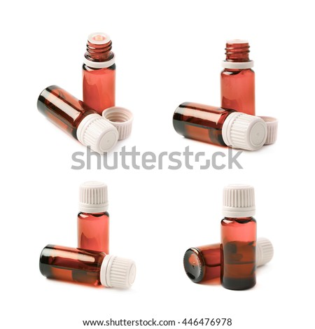 Small red glass flask vial, composition isolated over the white background, set of four different foreshortenings - stock photo