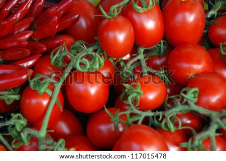 Small red pepper and cherry tomato