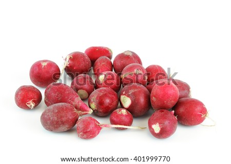 small red radishes on white background - stock photo